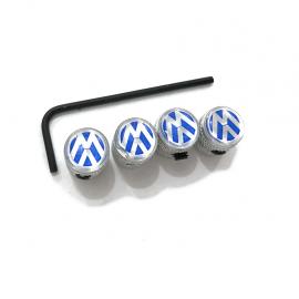 """Juego de Tapones de Valvula """"VW"""" Azules Con llave ANTIROBO"""