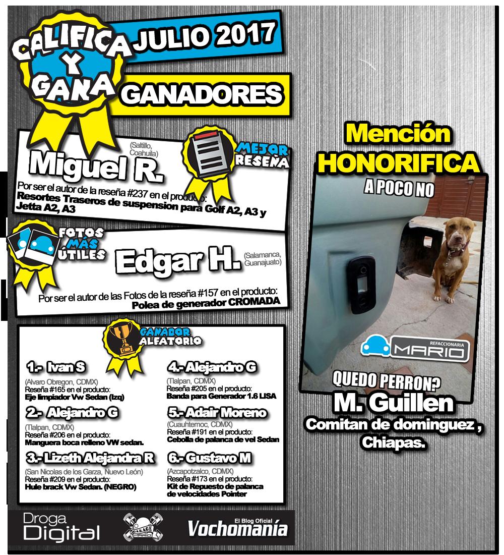 Ganadores Julio 2017