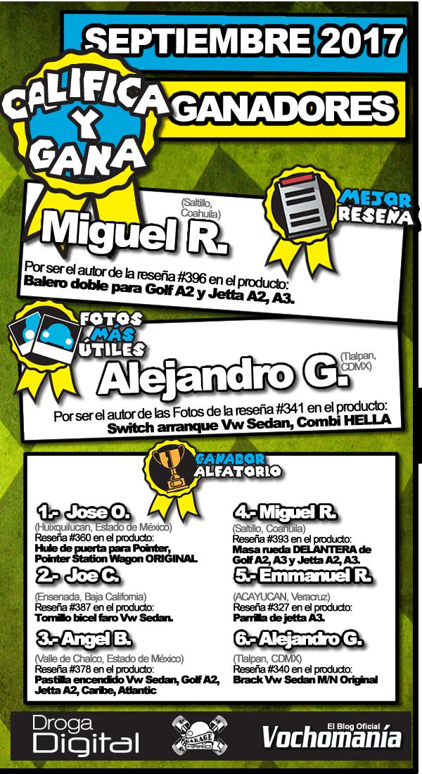 Ganadores de Septiembre 2017