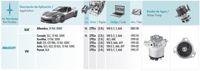Bomba De Agua Importada Para Eurovan  Golf A3  Golf A4  Jetta A3  Jetta A4 Y Passat  Motores Vr6